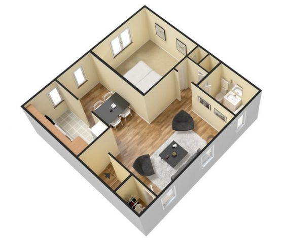 3D 1 Bedroom 1 Bath. 750 sq. ft.