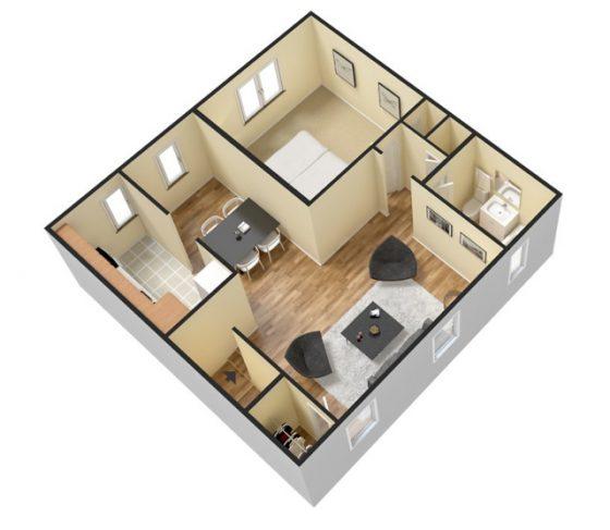 3D 1 Bedroom 1 Bath. 750 sq. ft.