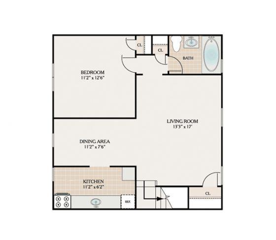 1 Bedroom 1 Bath. 750 sq. ft.