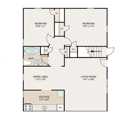 2 Bedroom 1 Bath. 850 sq. ft.