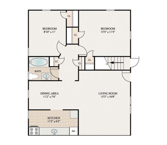 2 Bedroom 1 Bath. 850 sq. ft.